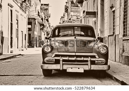 "stock photo front view of vintage classic american car parked in a street of old havana cuba sepia toned 522879634 - Каталог - Фотообои ""Автомобили"""