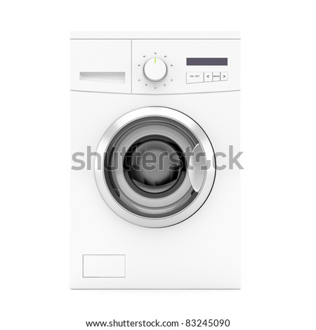 Front view of washing machine on white background. 3d image.