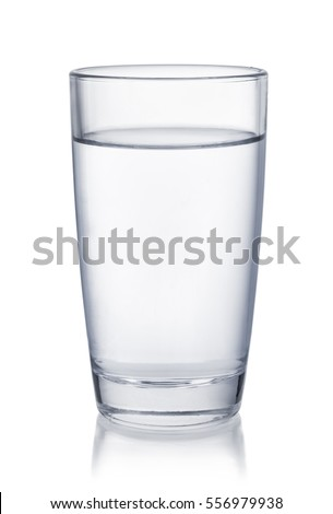 Front view of water glass isolated on white #556979938