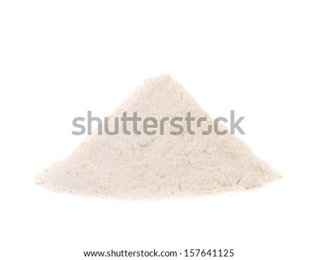 Front view of wheat flour. Isolated on a white background.