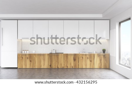 Front view of white and wooden kitchen interior with blank whiteboard, window with city view, fridge and concrete floor. 3D Rendering