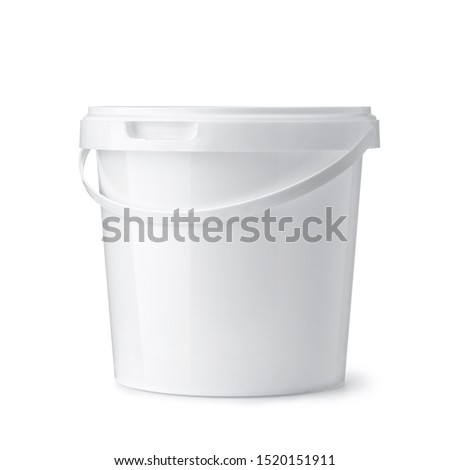 Front view of white plastic food bucket isolated on white ストックフォト ©