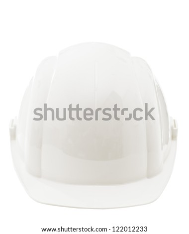 Front view of white protective industrial hardhat isolated on white background