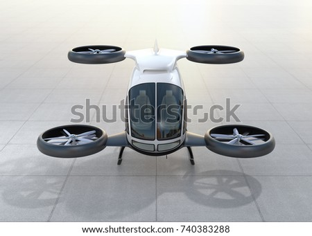 Front view of white self-driving passenger drone landing on the ground. 3D rendering image.