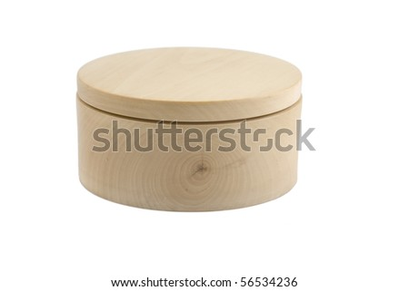 front view of wooden round box on white background