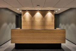 Front view on the reception desk