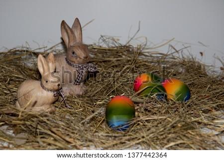 Fresh organic egg in nest on green grass background for Easter Day