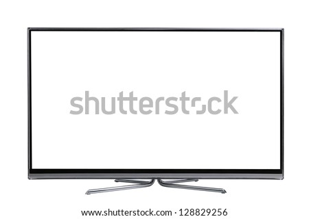 front view plasma wide screen led lcd tv monitor isolated on white