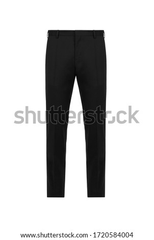 Front views black classic trousers on isolated background Stockfoto ©