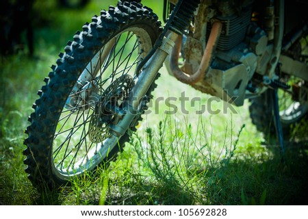 front wheel motocross bike on the nature