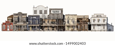 Front wide view of an old rustic antique western town with various business on an Isolated white background. 3d rendering Stock fotó ©