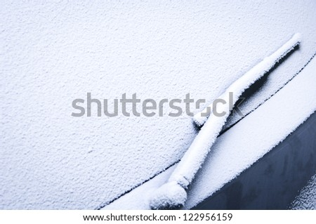 front window of a car in winter - space for text