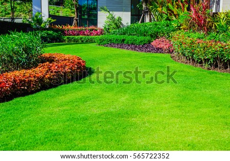 Photo of  Front yard, landscape design With multicolored shrubs intersecting with bright green lawns Behind the house is a modern, garden care service, green grass with a beautiful yard for the background.