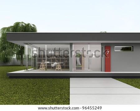 Front yard of very modern house - bungalow design, architecture
