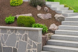 Front yard with external staircase made of granite