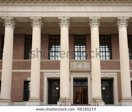 "frontal detail of the the ""Widener Library"" at Harvard Yard in Cambridge (Massachusetts, USA)"