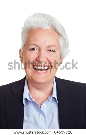 Frontal head shot of a happy smiling senior woman