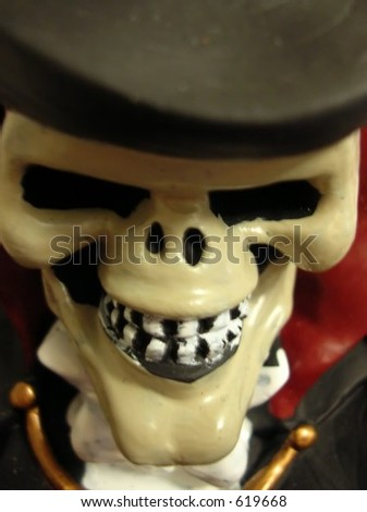 Frontal image of spooky skull for halloween