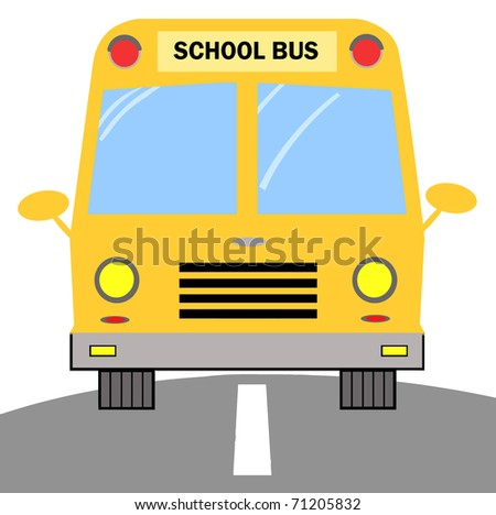 Frontal View Of A Driving Yellow School Bus