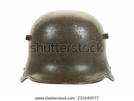 Frontal view of a German M1916 steel combat helmet