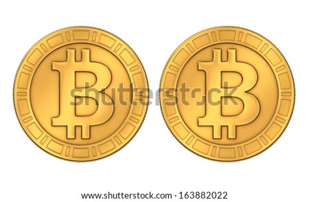 Frontal view of an engraved and a paneled style 3D rendered golden Bitcoins, isolated on white background