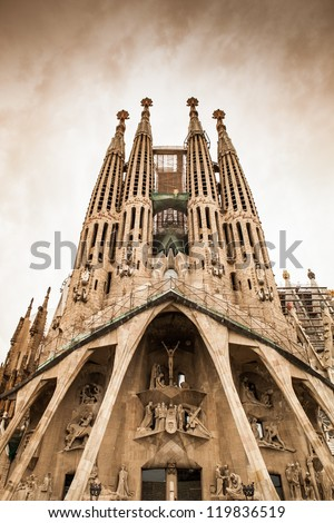 Frontal view of this architecture masterpiece La Sagrada Familia by Antoni Gaudi Picture without cranes cleaned digitally Barcelona