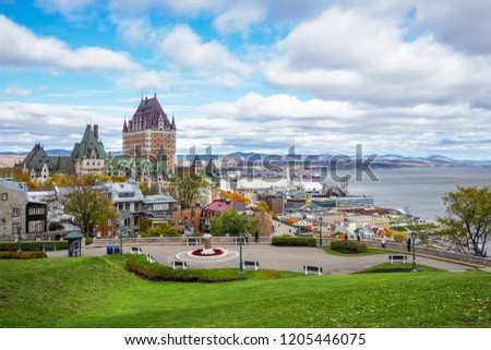 Frontenac Castle in Old Quebec City during daytime in autumn season, Quebec, Canada. #1205446075