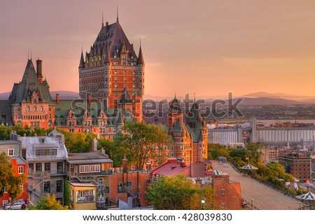 """stock photo frontenac castle in old quebec city in the beautiful sunrise light high dynamic range image 428039830 - Каталог - Фотообои """"Города"""""""