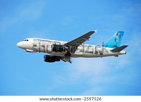 Frontier Airlines Airbus A-319 jetliner based in Denver, Colorado
