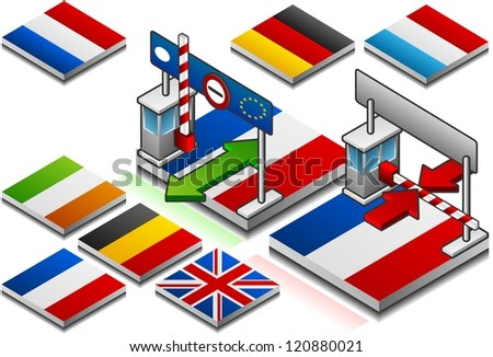 Frontier open and closed on the button flag of northern european country