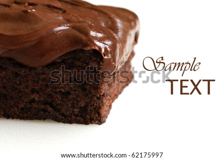 Frosted chocolate brownie on white background with copy space.  Macro with extremely shallow dof.