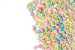 Frosted toasted oat cereal with fun shaped marshmallows on white background. blank space for texts.