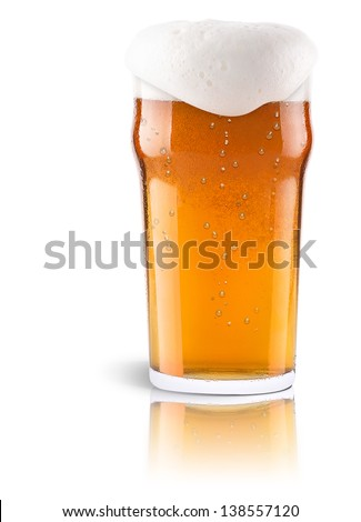 Frosty fresh beer with foam isolated background - stock photo