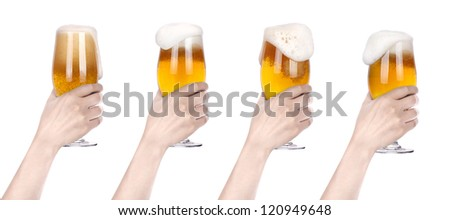 Frosty glass of beer with hand.making toast set