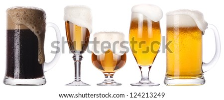 Frosty glass of light and dark beer isolated set on a white background - stock photo