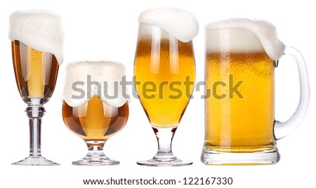 Frosty glass of light beer isolated set on a white background