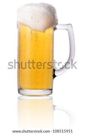 Frosty glass of light beer with foam isolated on a white background #108515951