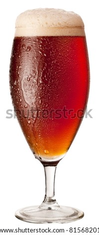 Frosty glass of red beer isolated on a white background. File contains a path to cut.