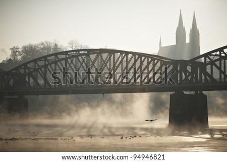 Frosty morning in Prague - Old railway bridge