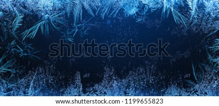 Frosty Natural Pattern on Winter Window. Ice Crystal Texture