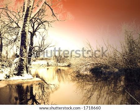 Frosty winter sunset