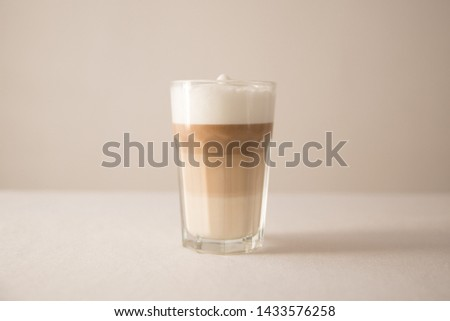 Frothy White Milk Milky Coffee Latte Espresso Macchiato Glass Cup Mug White Background Food and Drink Delicious Sweet Bitter Beverage Drink Cappuccino  #1433576258
