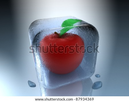 Frozen apple inside an ice cube with water drops