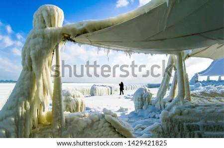 Frozen Arctic station scene. Arctic ice on Arctic station. Frozen Arctic station view #1429421825