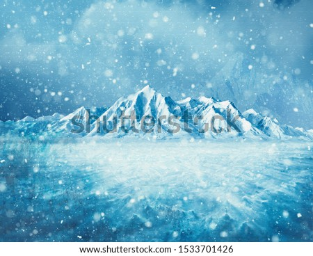 frozen background with ice and snow