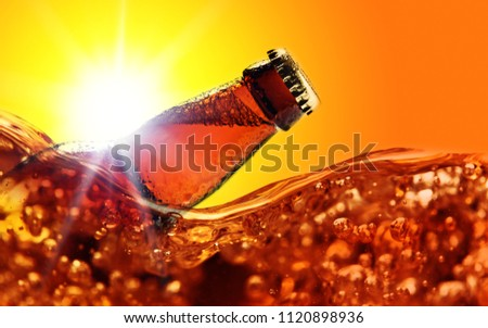 Photo of Frozen beer bottle, free space for your text.