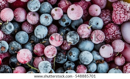frozen berries, black currant, red currant, raspberry, blueberry. top view. macro #548885701