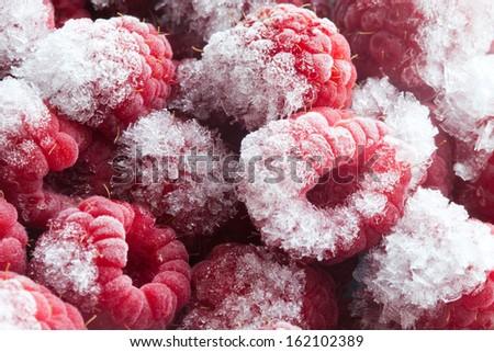Frozen berries. Closeup. Macro. Raspberries. Raspberry.Abstract.