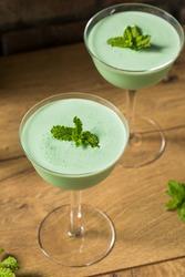 Frozen Boozy Mint Grasshopper Cocktail with Creme de Cacao
