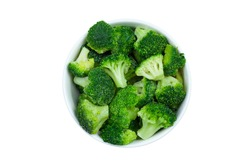 Frozen broccoli florets in a bowl isolated on white background, top view